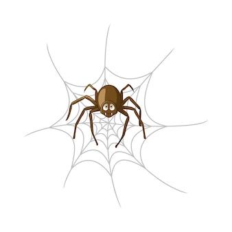Kreskówka pająk w pajęczynie na białym tle