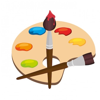 Kreskówka pallette farby kolor pędzla na białym tle grafiki