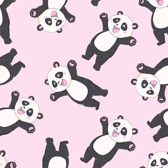 Kreskówka panda bezszwowy wzór