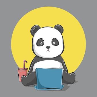 Kreskówka panda siedzi i ogląda laptopa