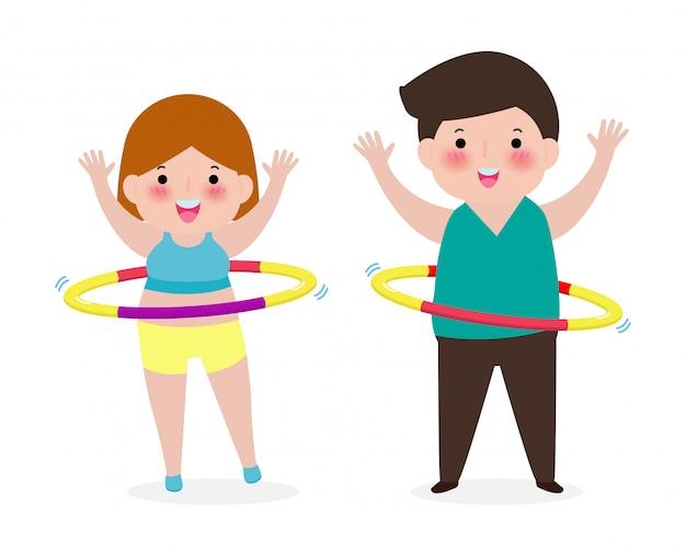 Kreskówka para ludzi robi hula hop, mężczyzna i kobieta ćwiczenia z hula hop, osoba gra hoola hop, koncepcja utraty wagi, zdrowe i fitness na białym tle na białym tle ilustracja