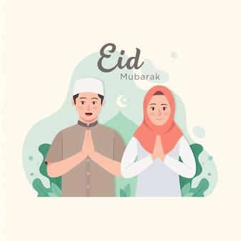 Kreskówka para muzułmańskich życzeń i pozdrowienia eid mubarak