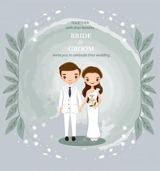 Kreskówka para na zaproszenia ślubne karty