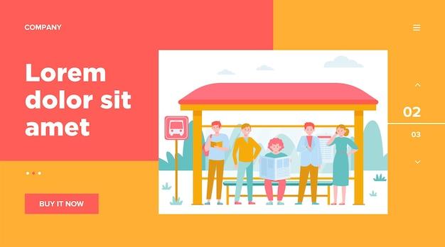 Kreskówka pasażerów stojących na przystanku autobusowym płaska ilustracja.
