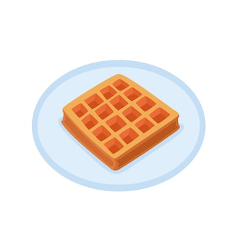Kreskówka pieczony wafel na talerzu na białym tle. ilustracja wektorowa kolor piekarni dobre dla etykiety plakat i menu piekarnia sklep.