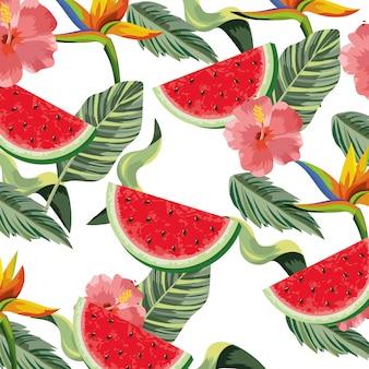 Kreskówka piękne kwiaty tropikalne