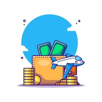 Kreskówka pieniądze i portfel. koncepcja podróży. płaska kreskówka