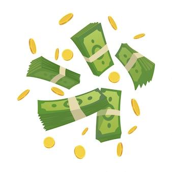 Kreskówka pieniądze. ilustracja kreskówka zielony banknot i złote monety. przelatujące i zwijane rachunki, dużo monet. dolarowy deszcz.