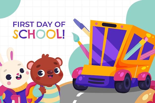 Kreskówka pierwszy dzień szkoły w tle