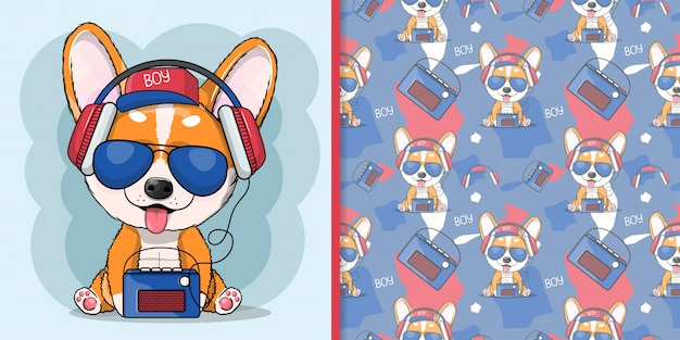 Kreskówka pies corgi słuchania muzyki w słuchawkach