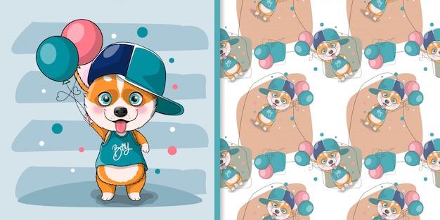 Kreskówka pies corgi z balonami