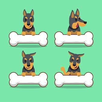 Kreskówka pies doberman z dużymi kośćmi