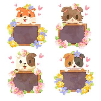 Kreskówka pies i kot trzyma szyld, zestaw z uroczymi zwierzętami z tablicą i drewnianą ramą
