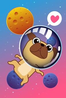 Kreskówka pies kawaii w kosmosie.