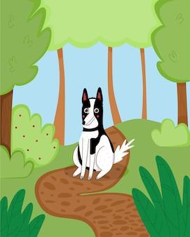 Kreskówka pies w parku. zabawny piękny plakat ze zwierzakiem na spacerze. rekreacja na łonie natury. ilustracja wektorowa