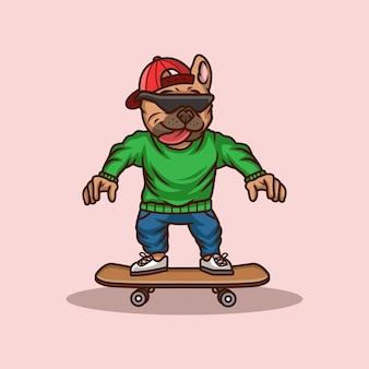 Kreskówka pies z ilustracji deskorolka