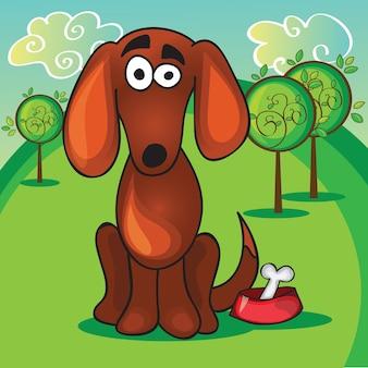 Kreskówka pies z kością - ilustracja wektorowa