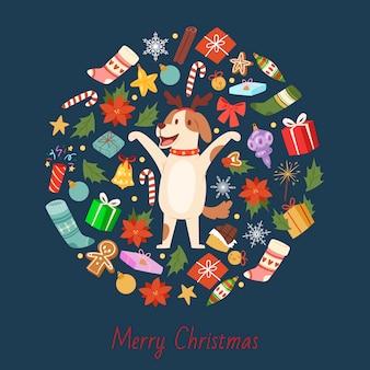 Kreskówka pies z rogami bożego narodzenia jelenia z wesołych świąt obiektów w okrągły skład
