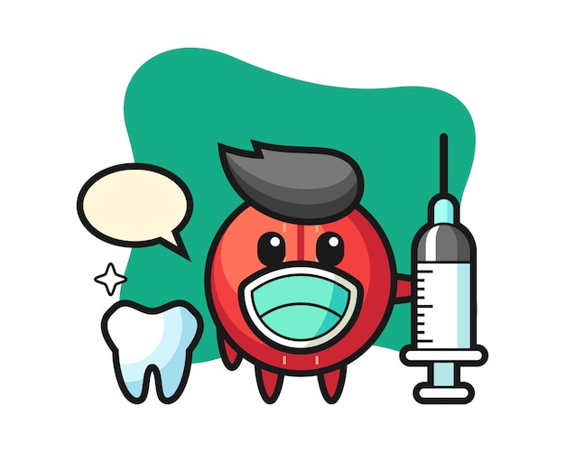Kreskówka piłka do krykieta jako dentysta