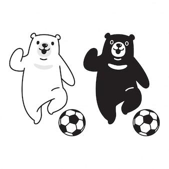 Kreskówka piłka nożna niedźwiedź polarny