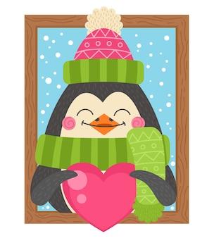 Kreskówka pingwin trzyma serce