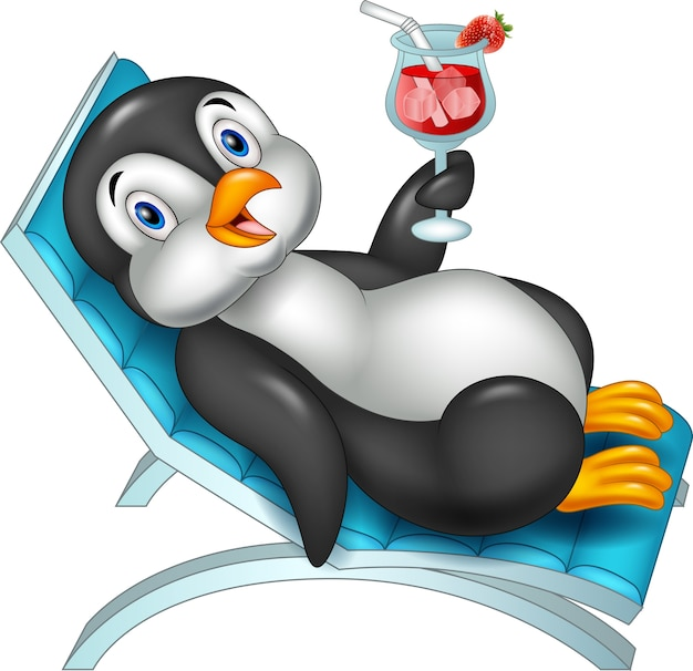 Kreskówka pingwina siedzi na krześle plaży i trzymając koktajl