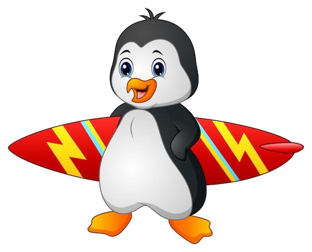 Kreskówka pingwina trzymając deskę surfingową