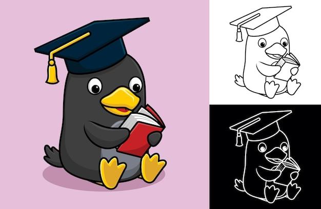 Kreskówka pingwina w kapeluszu ukończenia szkoły podczas czytania książki