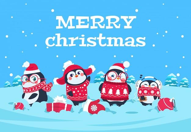 Kreskówka pingwiny. boże narodzenie pingwina polarne postacie w śnieżnym zimowym krajobrazie. wesołych świąt bożego narodzenia kartkę z życzeniami