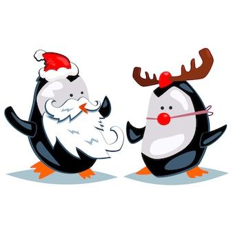 Kreskówka pingwiny przebrane za świętego mikołaja i renifery. wektorowa bożenarodzeniowa ilustracja odizolowywająca