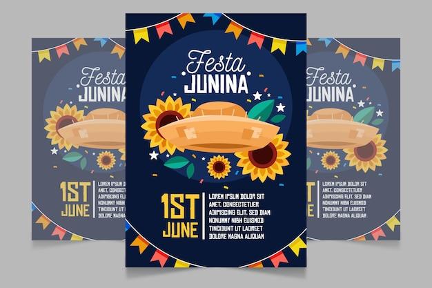 Kreskówka pionowy szablon plakatu festa junina