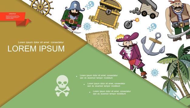 Kreskówka piraci kolorowa kompozycja z mapą skarbów skrzynia ze złotymi monetami kierownica bomba statek kotwica armata palmy
