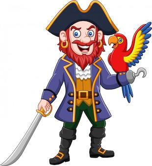 Kreskówka piracki kapitan i ara ptak