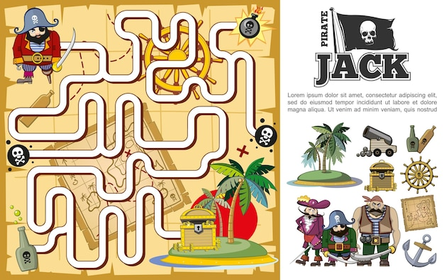 Kreskówka pirat poszukiwanie skarbów koncepcja labiryntu z niezamieszkaną wyspą butelki rumowej armaty kierownica mapa kotwicy skrzynia piratów postacie ilustracja