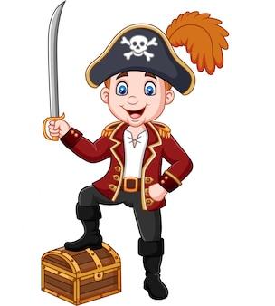 Kreskówka pirat trzyma miecz