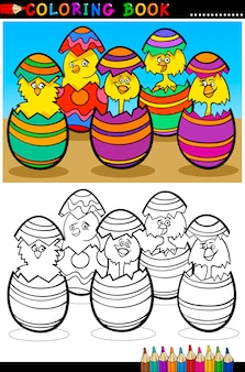 Kreskówka pisklęta w pisanki kolorowanki