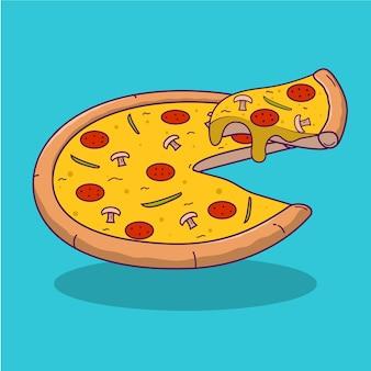 Kreskówka pizzy na niebieskim tle