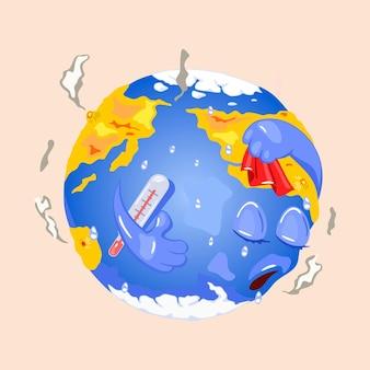 Kreskówka planeta z gorączką