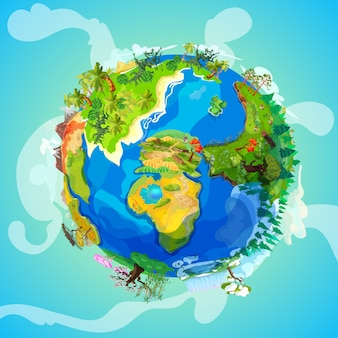 Kreskówka planeta ziemia koncepcja światła