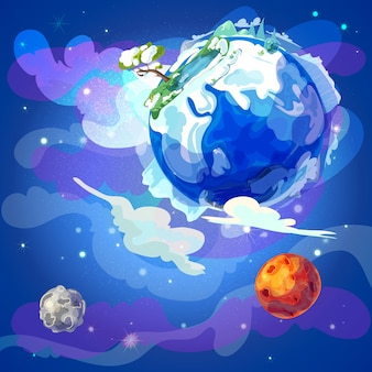 Kreskówka Planeta Ziemia W Kosmosie Szablonu Darmowych Wektorów