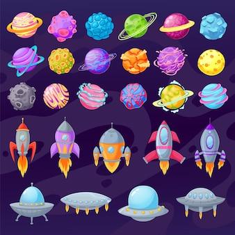 Kreskówka planety i statki kosmiczne. ufo z kreskówek obcych i statki kosmiczne
