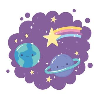 Kreskówka planety ziemia saturn spadająca gwiazda gwiazdy fioletowe tło dekoracji