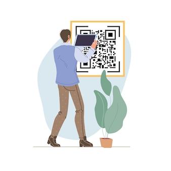 Kreskówka płaska postać za pomocą mobilnego tabletu smartfona z pustym pustym ekranem skanującym kod qr zakupy online