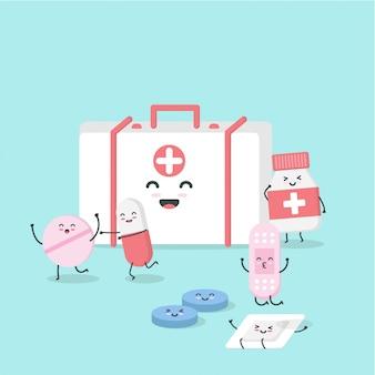 Kreskówka płaski charakter medycyna. izometryczne leki, pigułki, pigułki medyczne, pigułki butelkowe, opaski i medycyna szczęśliwa romping. ilustracja projektu koncepcji opieki zdrowotnej i medycyny.