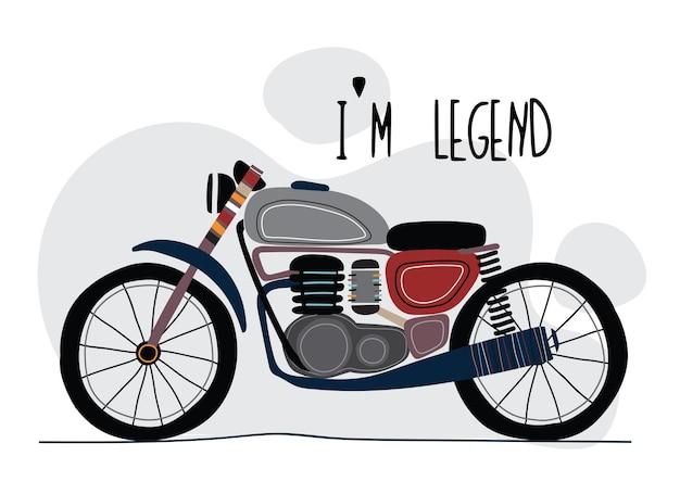 Kreskówka płaski klasyczny motocykl