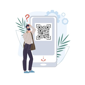 Kreskówka płaski kod badania kodu qr na mobilnym smartfonie