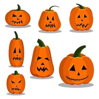 Kreskówka płaski kolorowy dyni ikony zestaw znak zestaw halloween.