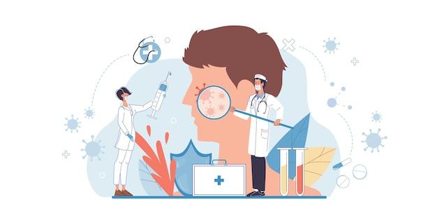 Kreskówka płaski lekarz znaków w pracy