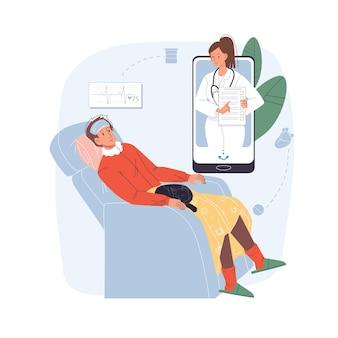 Kreskówka płaski pacjent, postacie lekarza