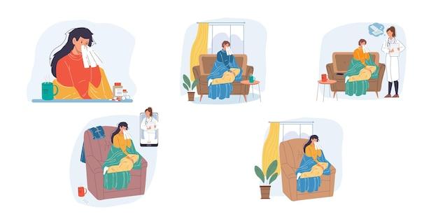 Kreskówka płaski pacjent, zestaw znaków lekarza